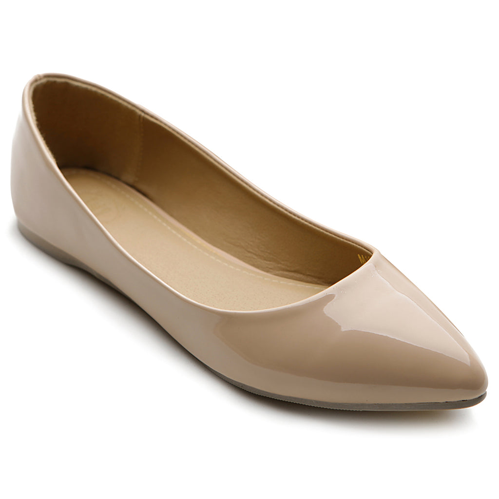 Ollio Women's Shoe Ballet Basic Pointed Toe Comfort Enamel Flat
