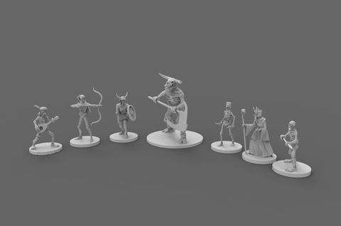 Dolomar's Dungeon Denizens Skeleton Mob Dungeons and Dragons, Miniatures, Role-playing Games