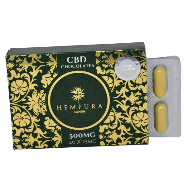 Hempura 500mg Broad-Spectrum CBD White Chocolates (20) - OIKOSPIRAL