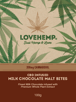 Love Hemp® CBD Malt Chocolate Bites 200mg CBD – 100g - OIKOSPIRAL