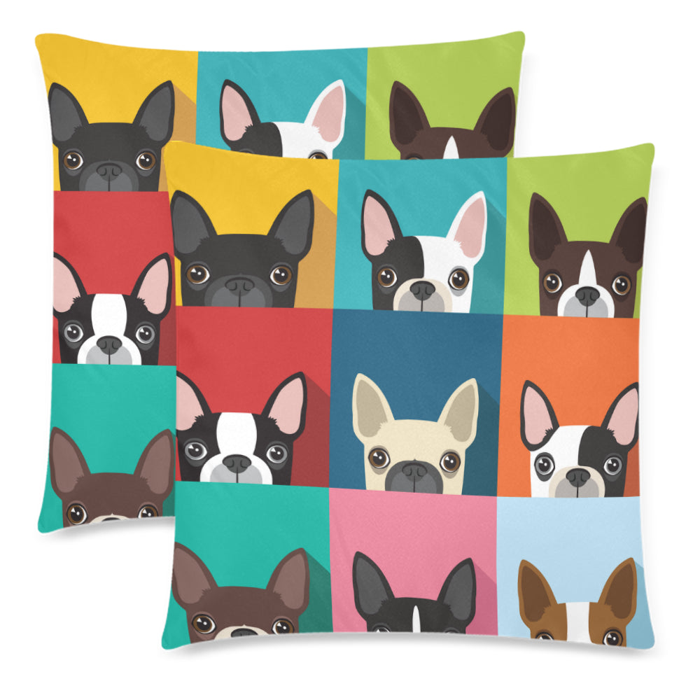 co dogs decorative friends square inches throw cotton living boston terrier cushion pillow cover covers funny cute human linen sofa pet bedroom various homegarden room
