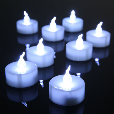12pcs/lot LED Tea Light Electronic Wax Candles Flameless Cold Cool White Flicker Bougies Candele Kaarsen Velas Boda with Battery