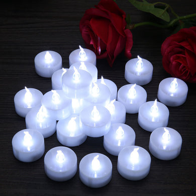 24 pcs Festival LED Flameless Candles Electronic Tealight Smokeless Bougies for Wedding Birthday Event Party Decor Vales Candele