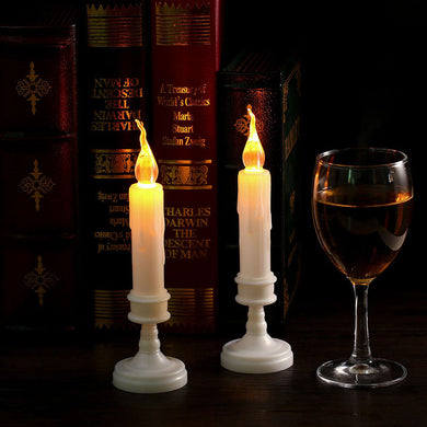2pcs Home Decor LED Candle Light Yellow Flicker Electric Flameless Bougie Pillar Vales Lamp For Wedding Christmas Festival Party