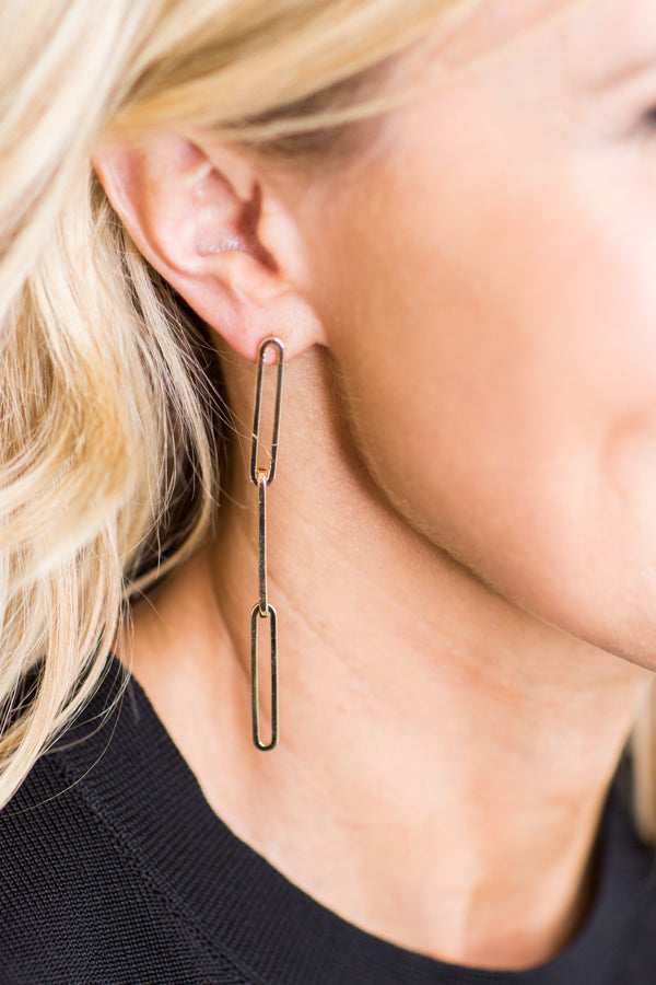 Long Oval Dangle Earring