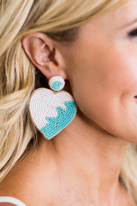 Heart Beaded Wave Turquoise Earring