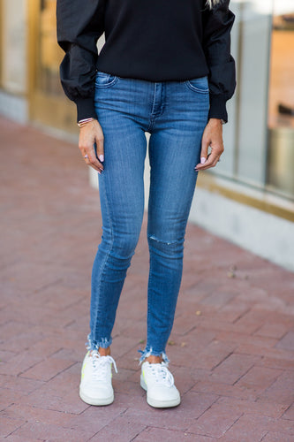 Faith Higher Mid Rise Distressed Jeans