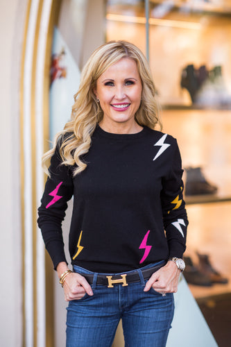 Lightning Bolt Sweater- Black