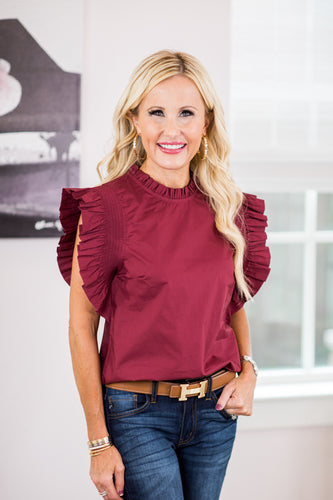 Carley Top- Burgundy