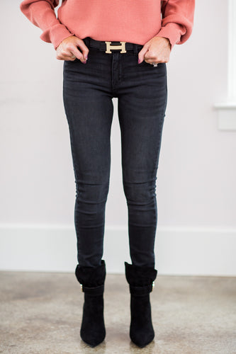 Giselle Higher Mid Rise Smoked Black Jeans