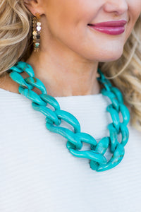 Resin Chain Necklace- Turquoise