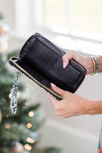 Michelle Wallet w/Strap-  Black Snake