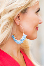Beaded Hoops- Blue
