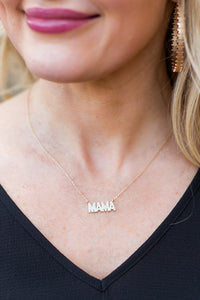 Mama Block Crystal Necklace