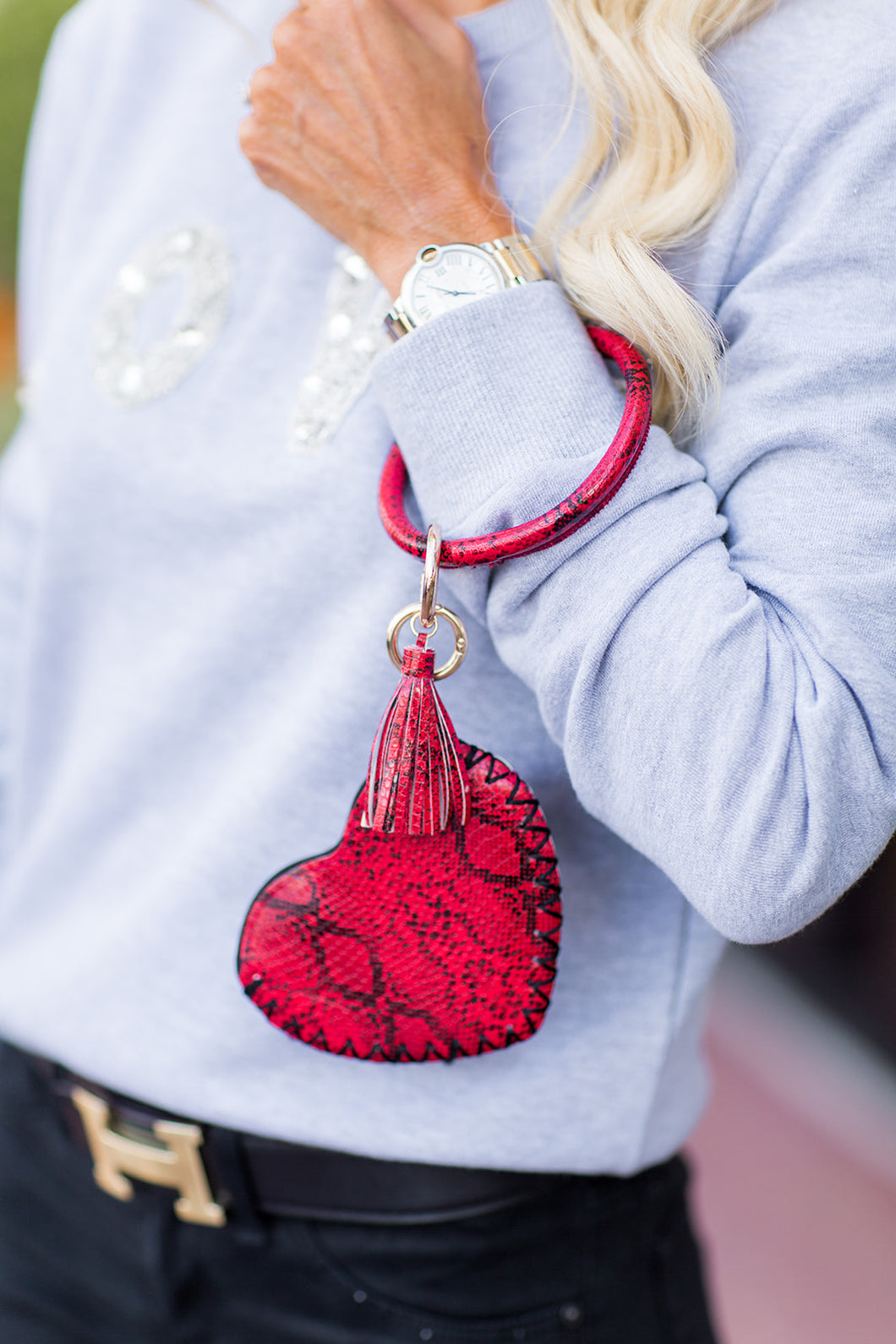 Sloan Key Chain w Heart Pouch- Red