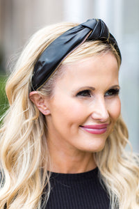 Faux leather Headband w Zipper- Black