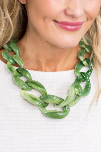 Resin Chain Necklace- Green