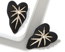 Sola Leaf Swarovski Earring- Black