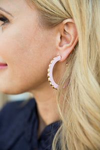 Scalloped Earrings- Pink