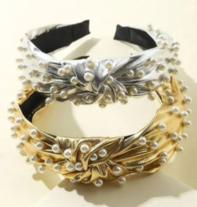 Headband Silver with Pearl