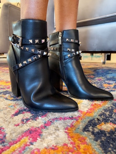 Rockstud Vegan Leather Booties- Black