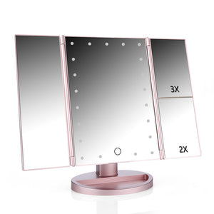 Touch Screen LED Table Makeup Mirror Tri-fold Three Panels 21pcs LEDs Tabletop Cosmetic Mirror