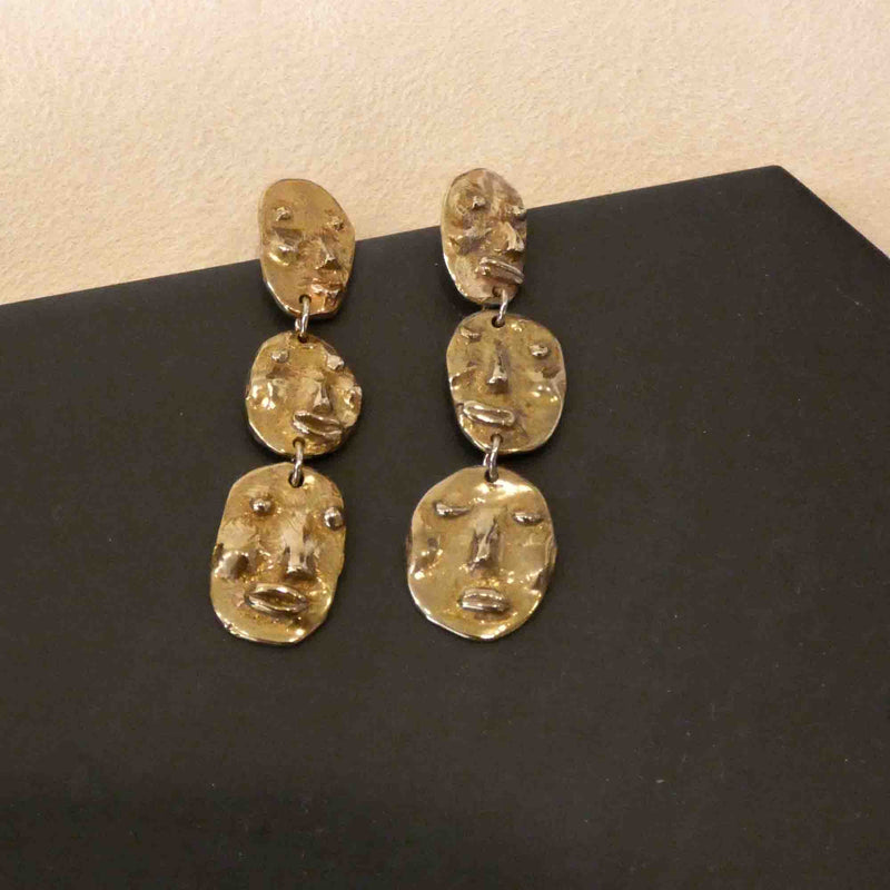Yu Yu Shiratori Jewelry : Face Droplet Earrings