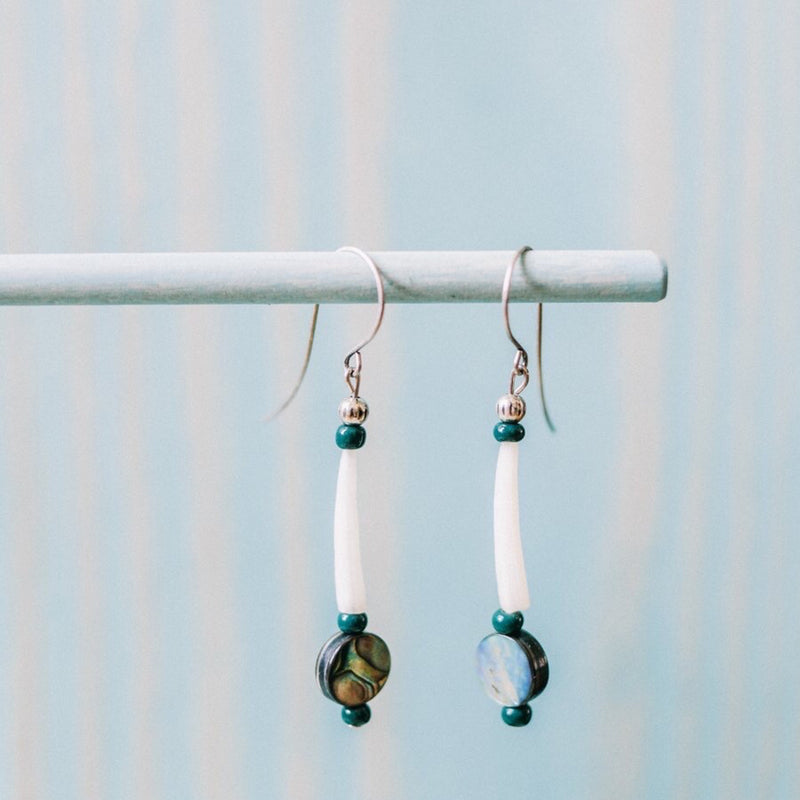 Native Works : Dentalium Abalone Earrings
