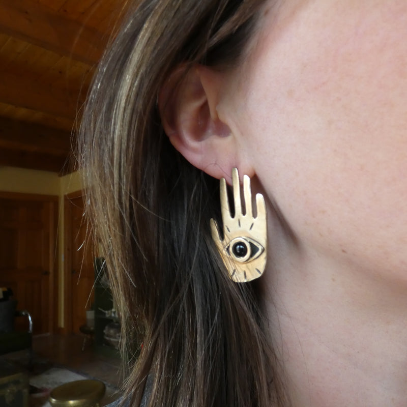 Therese Kuempel Hand Eye Statement Earrings with Black Onyx