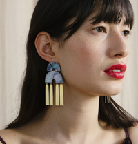 Wolf & Moon : Cecilie Earrings in Blue Mother of Pearl