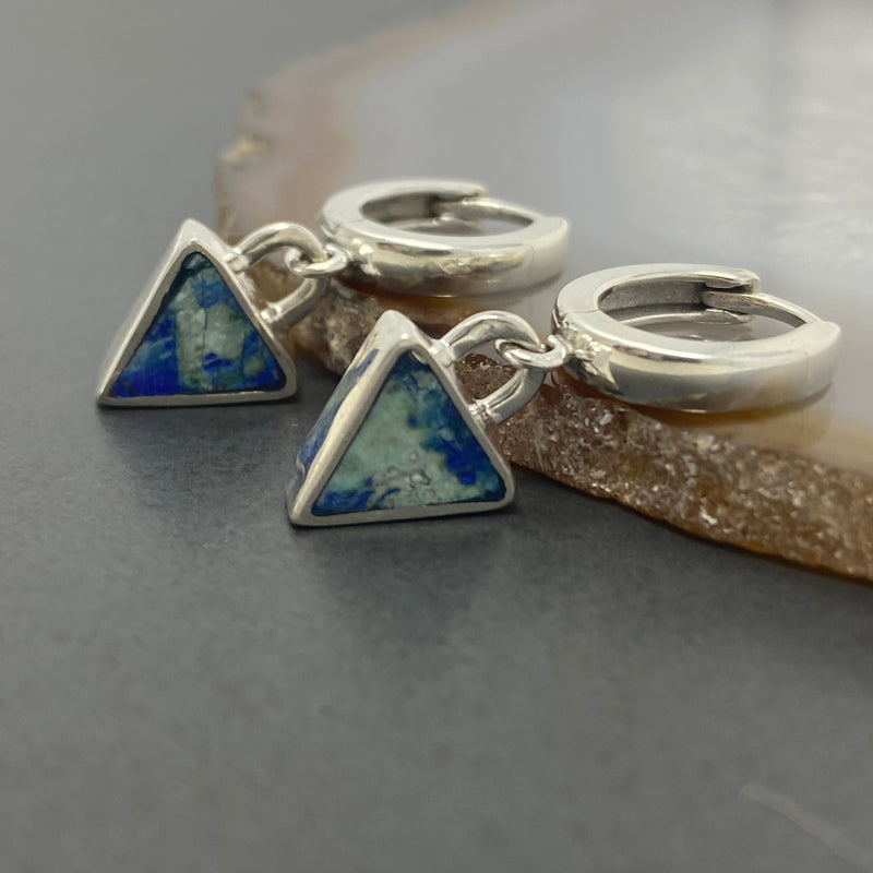 Young in the Mountains : Azurite Geo Triangle Hoops