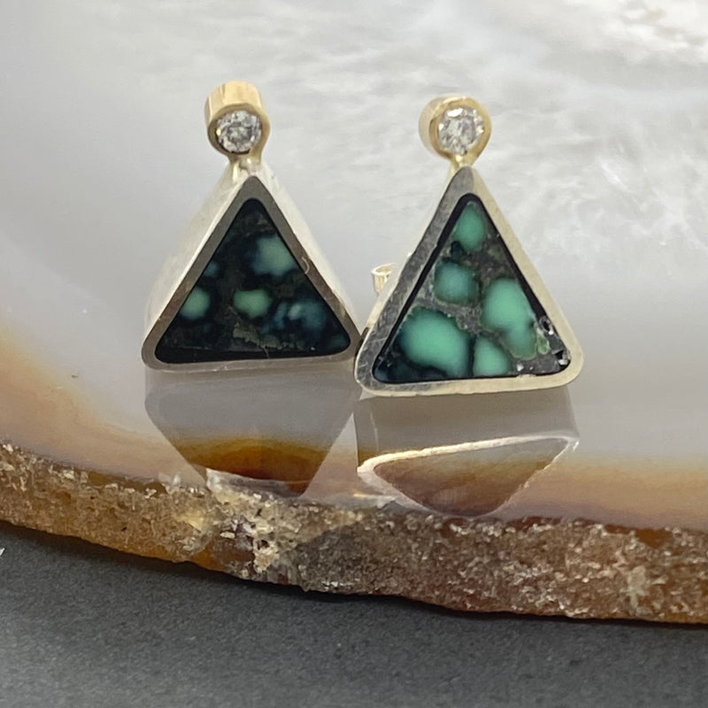 Young in the Mountains : Peacock Turquoise Geo Triangle Studs