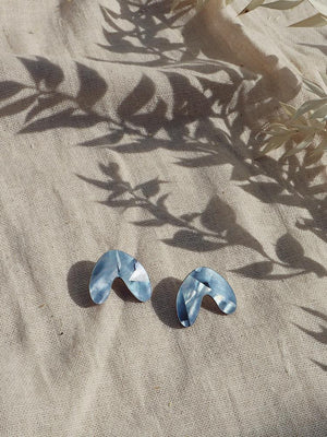 Wolf & Moon : Cassia Studs in Blue Mother of Pearl