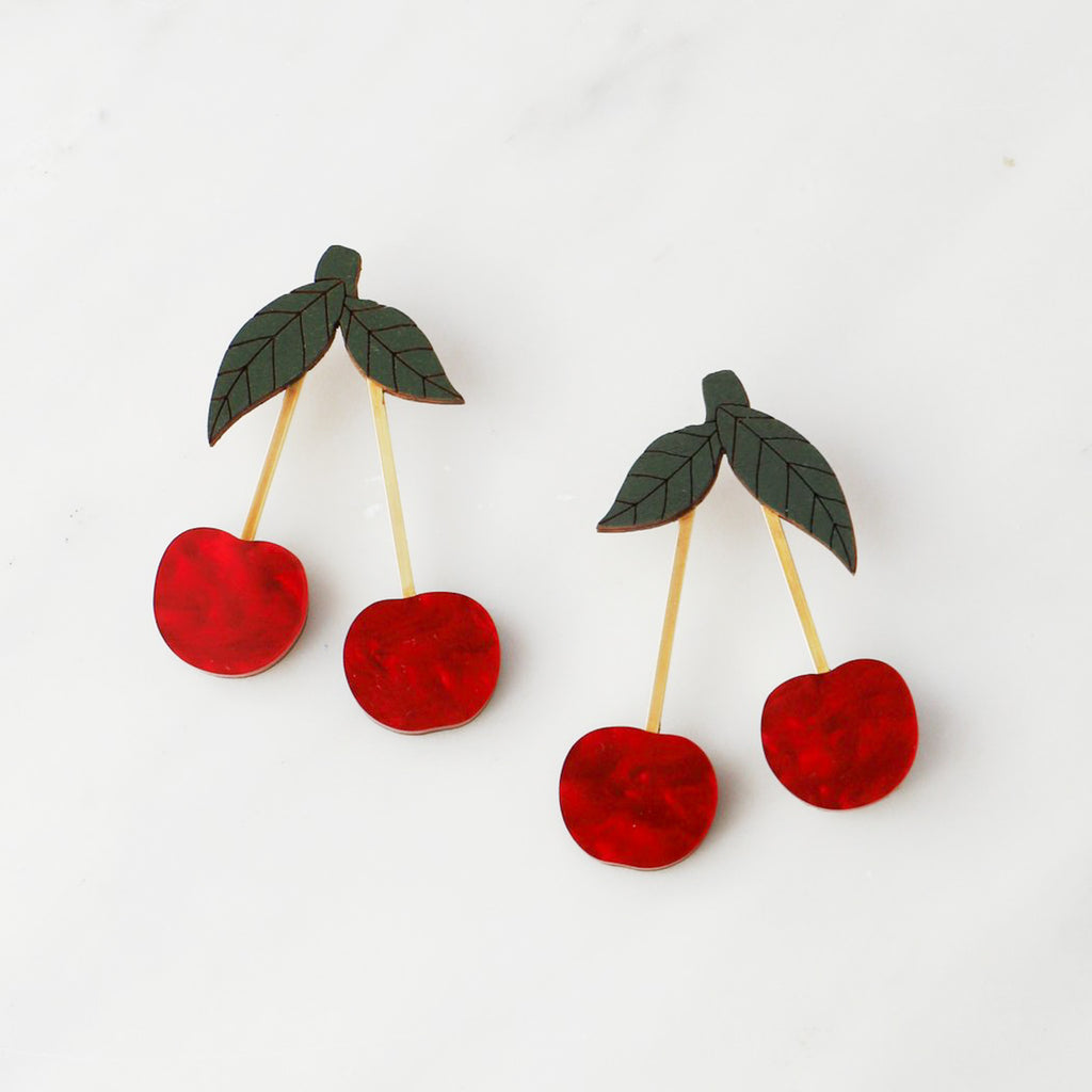 Wolf & Moon : Cherry Earrings in Red