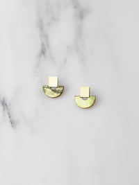 Wolf & Moon : Mini Marina Studs in Olive Mother of Pearl