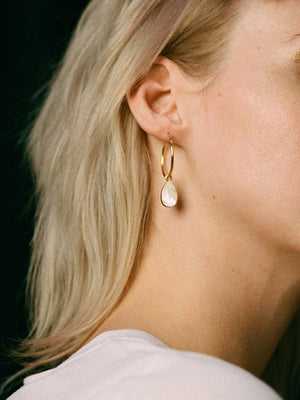 Wolf & Moon : Raindrop Hoops in Mother of Pearl