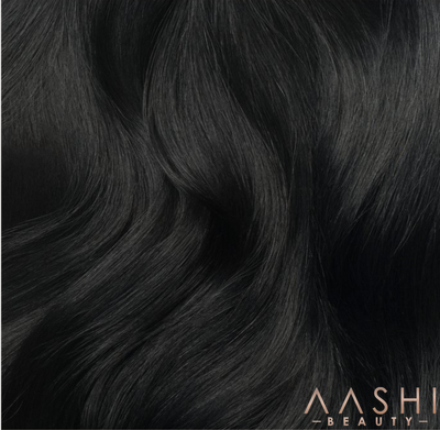 Jet Black Clip-In Hair Extensions (#1) - Aashi Beauty