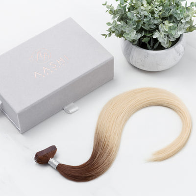 Ombre Espresso (1C) to Ash Blonde (60) Tape-in (Naturally Drawn, Thin) - Aashi Beauty