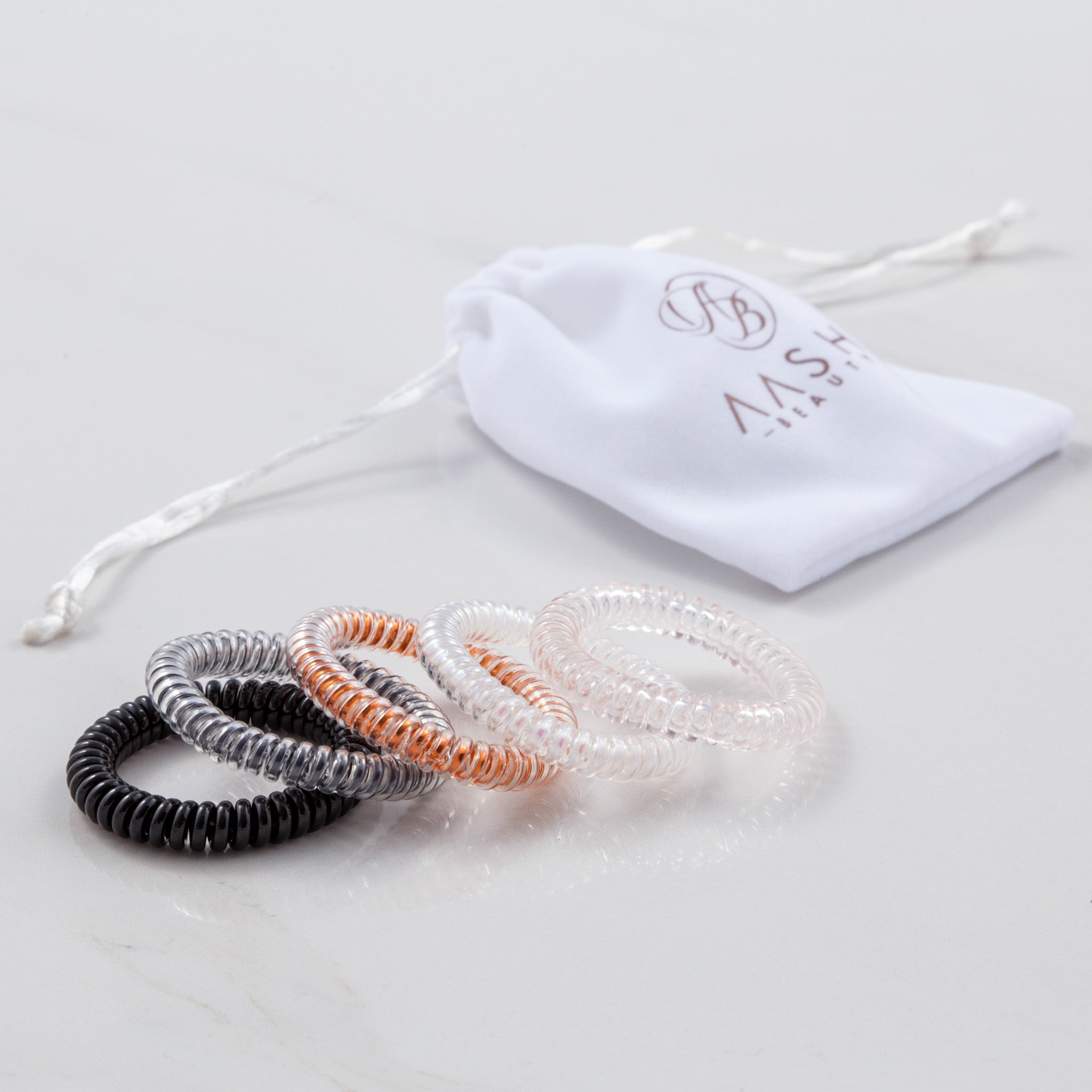 Spiral Hair Ties / Pack of SOLID Colour