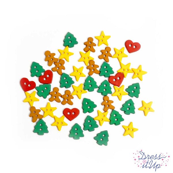 Itty Bitty CUT OUT COOKIES Gingerbread Tree Heart Star Dress It Up Craft Buttons