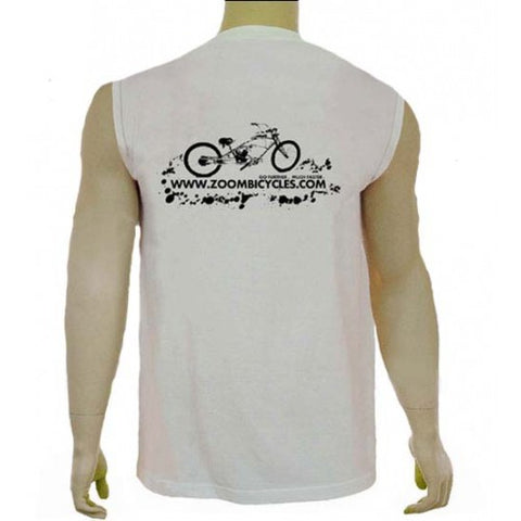 ZoomBicycles White Cotton Sleeveless T-Shirt (Large)