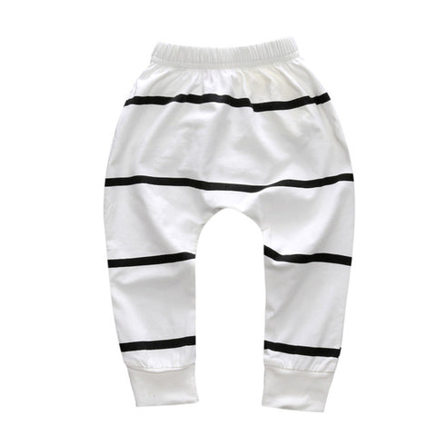 White & Black Stripe Harem Pants