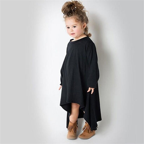 Irregular Hem Long Sleeve Dress Black