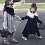 Irregular Hem Long Sleeve Dress Gray