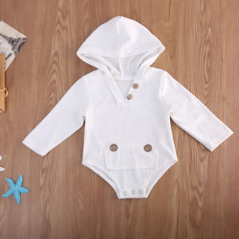 White Out Hooded Long Sleeve Onesie