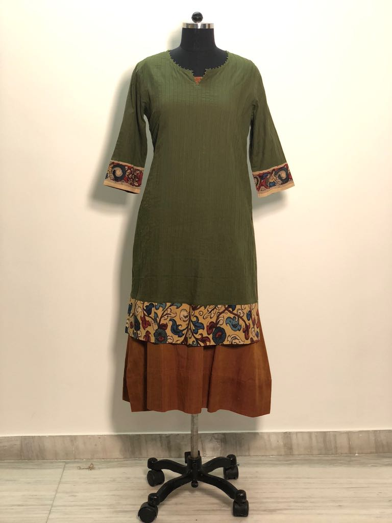 Ethnic Duo-Olive Green coloured