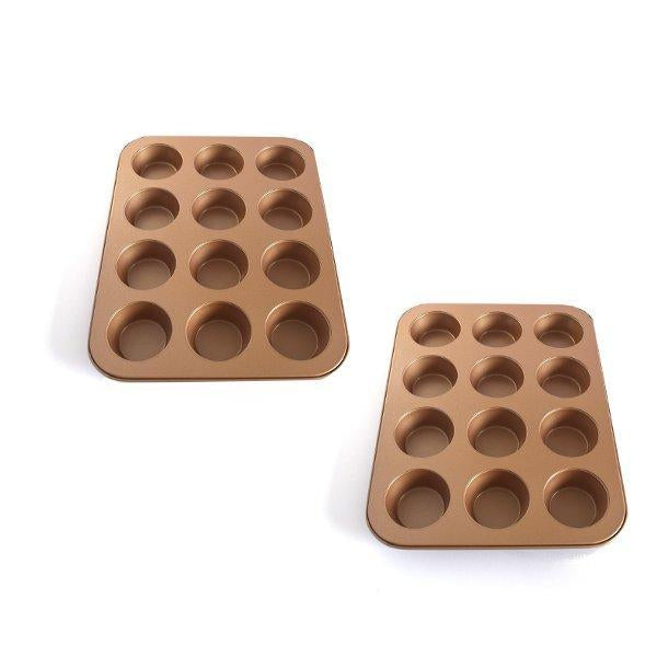 Muffin Cupcake Pan Set Premium Carbon Steel 48 Cups chefs