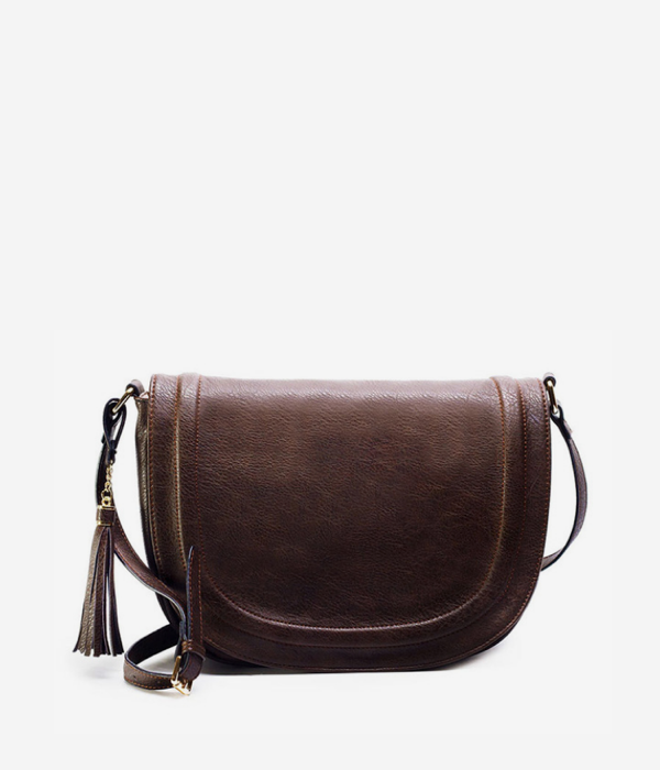vegan leather saddle bag shoulder brown tan cognac