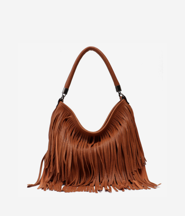 vegan leather bag fringe tassel shoulder