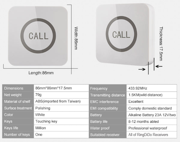 wireless pager touching button specification | RingDiDo
